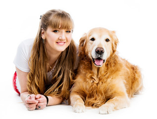 Retriever and girl