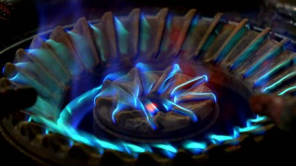 Gas Ring on a Domestic Cooker or Stove. Close up. Video pack.