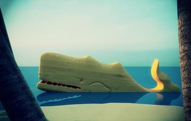 Isola tropicale, vacanza, naufragio, balena, cartoon