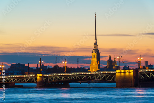 Staande foto Athene Palace Bridge and Peter and Paul Cathedral in St. Petersburg
