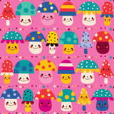 cute mushrooms seamless pattern - 66475979