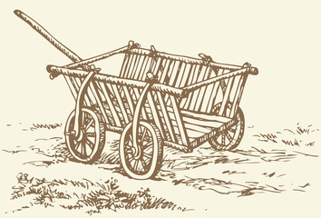 Vector drawing. Archaic wooden empty cart