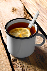 Black tea with lemon.