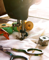 The sewing machine and tools.