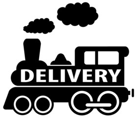 isolated black delivery train