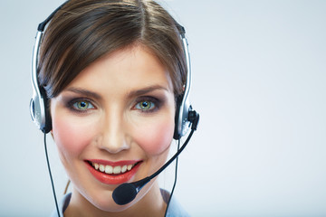 Close Up Portrait. Woman call center operator. Business woman w