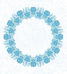 Ornate vector floral frame in Russian style Gzhel