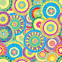 Seamless floral pattern with doodles and cucumbers