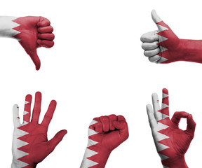 Hand set with the flag of Bahrain
