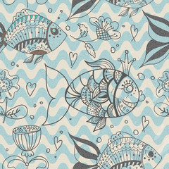 Seamless background with fish, pattern