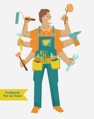 retro cartoon Handyman with different tools