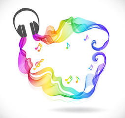 Dark gray headphones icon with color abstract wave