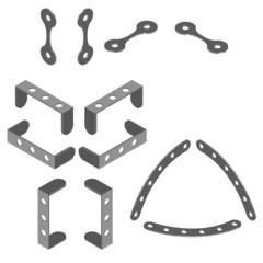 Pièces mécaniques en perspective isométrique