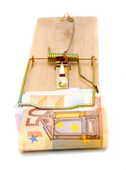 Mousetrap with a banknote (50 euros).
