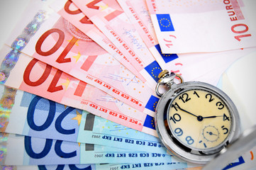 Watch on banknotes (euro).