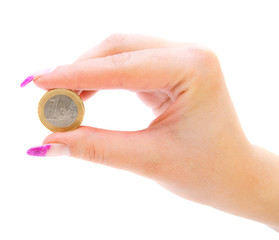 Coin in hands. On a white background.