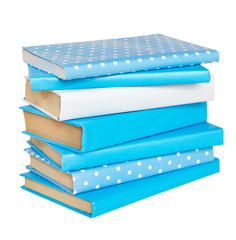 Stack of blue books.
