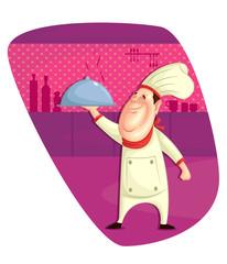 Chef serving dish