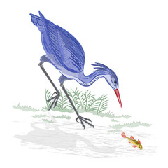 Heron hunting fish vector Illustration without gradients