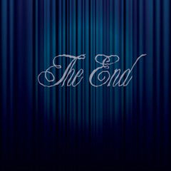 end on blue curtain