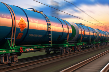 Freight train with petroleum tankcars