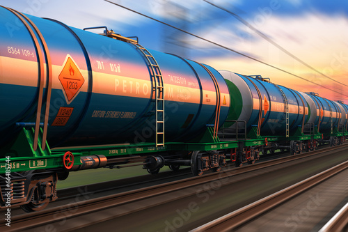 Leinwandbild Motiv Freight train with petroleum tankcars