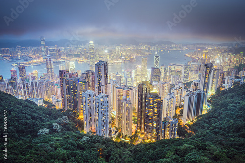Foto op Canvas Hong-Kong Hong Kong China City Skyline