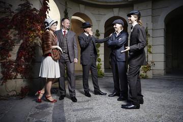 Ancient retro style group in Art Nouveau style dress