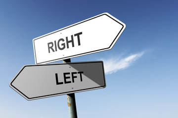 Right and Left directions.  Opposite traffic sign.