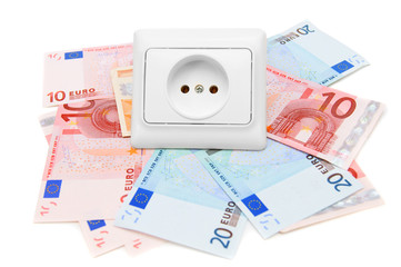 Electric sockets and banknote euro. On a white background.
