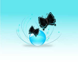 Two butterflies on glass ball