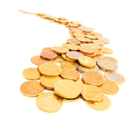 Gold coins in the form of the river. On a white background.