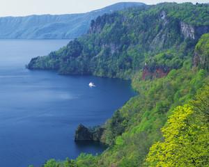 Boat on lake, Towada, Aormori Prefecture, Japan