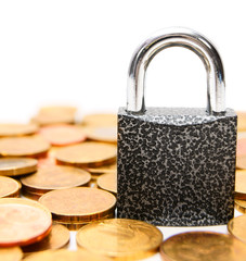 Lock on gold coins.