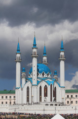 Qol Sharif mosque and audience of show. Kazan, Tatarstan