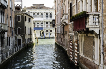 Ancient buildings in the channel in Venice.