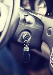 car key in ignition start lock