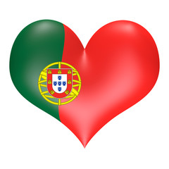 Portuguese flag in 3D heart shape