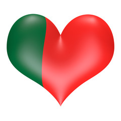 Portuguese flag colors in 3D heart shape
