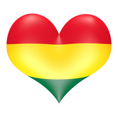 Ghanaian flag colors in 3D heart shape