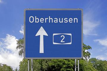 Autobahnschild A2 Oberhausen