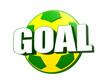 3d goal over soccer ball in Brazilian colors