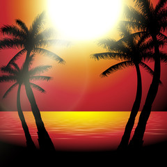 Vector summer sunset view in beach with palm trees