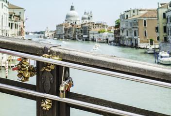 Padlocks of lovers placed on the bridge