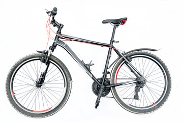 Black mountain bike isolated on a white background