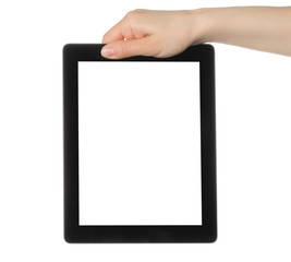 Woman hand holding tablet PC on white background .