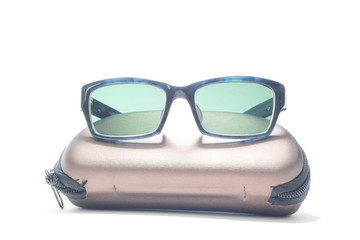 isolated white background  sunglasses with bag