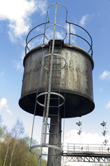 Vintage water tower for steam powered trains