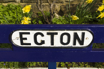 Egton Bridge railway station, bench sign.
