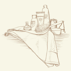 Homeliness and Bath Accessories in Vintage Drawing Illustration